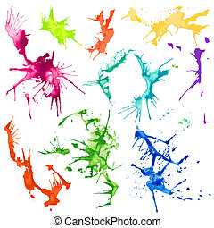Vector Water Color Splash Stains - Vector Set of...