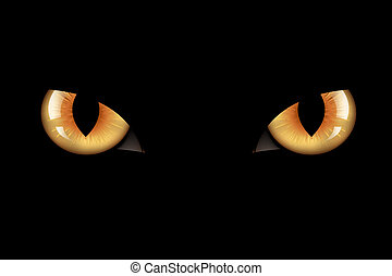 Cats Eyes - Wild Cat Eyes, On Black Background,