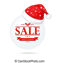 Christmas Banner With Santa Claus Cap, With Gradient Mesh,