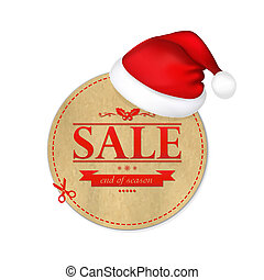Christmas Vintage Banner With Santa Claus Cap, With Gradient...
