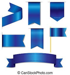 Blue Web Ribbons Set With Gradient Mesh,