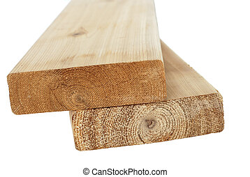 Wood lumber boards isolated