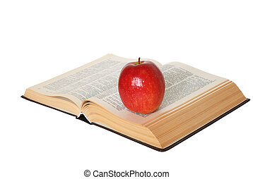 Open book with an apple