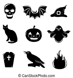 Halloween Icons - 9 Black Halloween Icons, Isolated On White...
