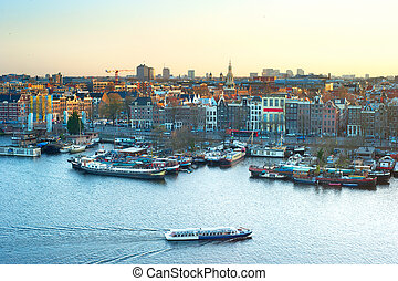 Skyline of Amsterdam - Cityscape of Amsterdam at colorful...
