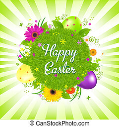 Happy Easter - Easter Eggs With Grass,