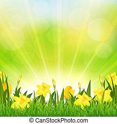 Flowers Easter Background,