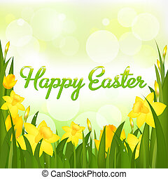Happy Easter Greeting Card, Isolated On White Background,