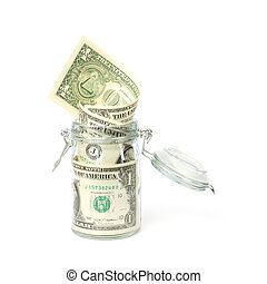 Dollar banknotes in opened jar against white background
