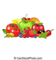 Fruits And Vegetables, Isolated On White Background