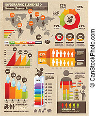 Retro Color Infographics Elements with World map Graphics on...