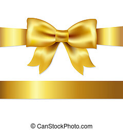 Gift Satin Bow - Golden Bow, Isolated On White Background