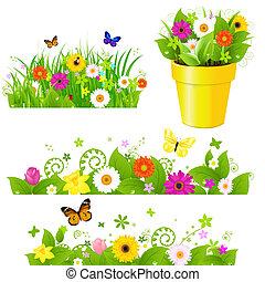Green Grass With Flowers Set, Isolated On White Background