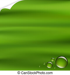 Green Background With Drops With Corner