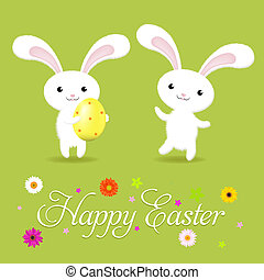 Happy Easter Card With Rabbits And Flower