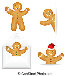 Gingerbread Mans Big Set - 4 Gingerbread Mans, Isolated On...