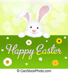 Happy Easter Greeting Card, Isolated On White Background