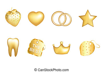 Golden Set - Golden Strawberry, Heart, Wedding Rings, Star,...