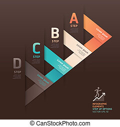 Modern arrow origami style step up options banner Vector...