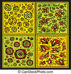 Seamless decorative floral scrolls vector patterns