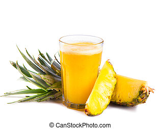 drink - Fresh pineapple juice isolated on white background...