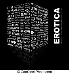 EROTICA. Word cloud illustration. Tag cloud concept collage.