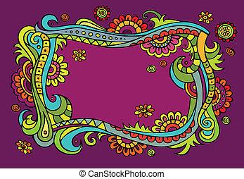 Fantasy vector fairy-tale floral frame
