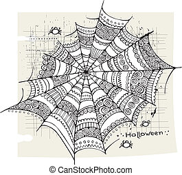 Halloween spider web background - Halloween spider web hand...