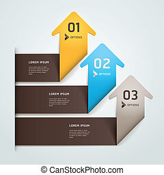Modern arrow origami style step up number options banner...