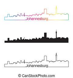 Johannesburg skyline linear style with rainbow in editable...