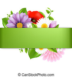 Green Background With Color Flowers