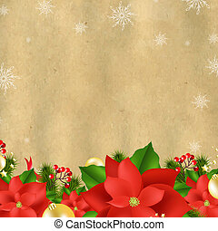 Christmas Card With Poinsettia