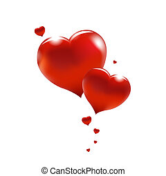 Big Red Hearts, Isolated On White Background