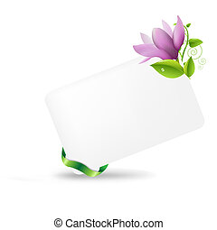 Blank Gift Tag With Magnolia, Isolated On White Background