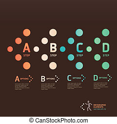 Modern dot arrow style step up options banner. Vector...