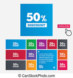 50 percent discount sign icon. Sale symbol. Special offer...