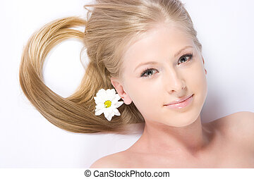 Camomile girl - Cute tiny blonde with camomile flower in her...
