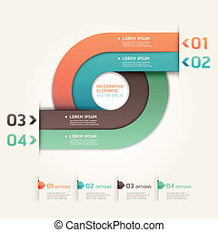 Modern arrow circle step up options banner. Vector...