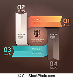 Modern arrow circle step up options banner Vector...
