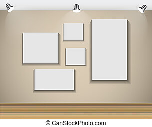 Frame on Wall for Your Text and Images, Vector Illustration.