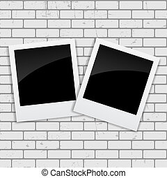 Instant Photos on Grunge Brick Background Vector...