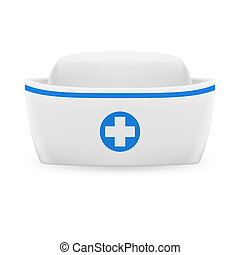 Nurse cap - White and blue nurse cap on white background