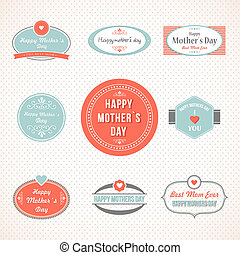 Retro cute Happy Mothers day label set