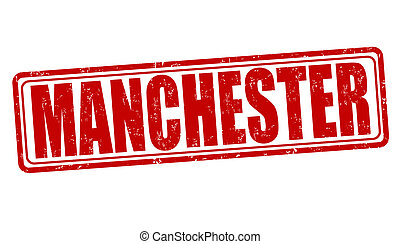 Manchester stamp - Manchester grunge rubber stamp on white,...