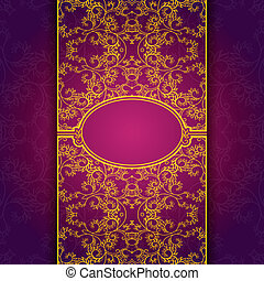 Gold abstract invitation floral violet frame