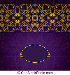 Abstract gold and violet invitation frame