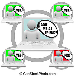 Friend Requests - Social Network - One person sends friend...