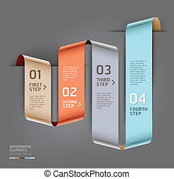 Abstract step up options ribbon style. Vector illustration....