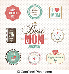 Happy Mothers Day labels and icons set - Happy Mothers day...
