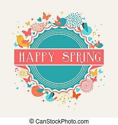 Retro Happy Spring label composition